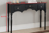 Lucas Black Wood Transitional Occasional Entryway Console Sofa Table With 3 Storage Drawers - Pilaster Designs