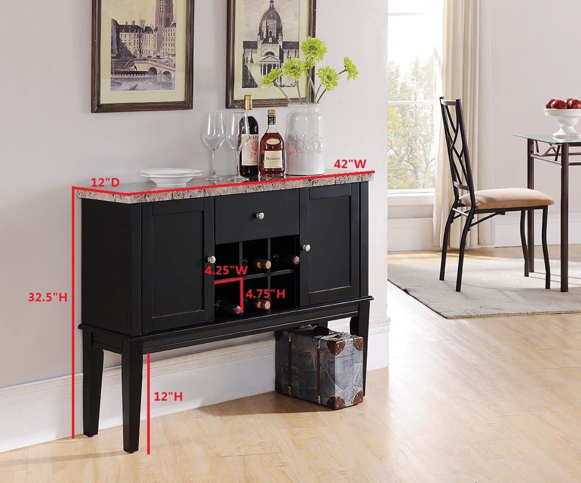 Charmant ... Everett Black U0026 Marble Wood Contemporary Wine Rack Buffet Display  Console Table With Storage Drawer U0026