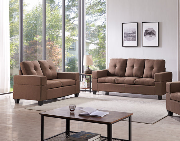 Boutwell 2 Piece Living Room Set, Brown Faux Leather