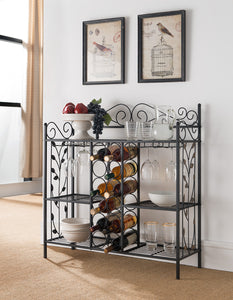 Calvin Black Metal Transitional Wine Rack Organizer Display Stand With Storage Shelves & Cup Holders - Pilaster Designs
