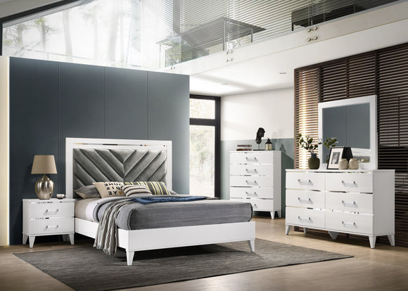 Hillsdale 5 Piece Bedroom Set, King, White Wood