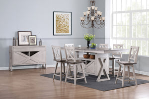Figaro 8 Piece Counter Height Dining Set, Wash Gray Wood