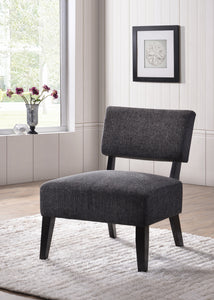 Grey & Black Upholstered Fabric Armless Oversized Accent Chair With Wood Frame & Legs - Pilaster Designs