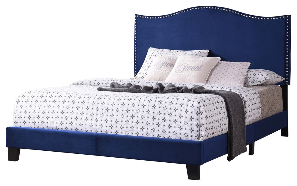 Skye Upholstered Panel Bed Blue Velvet Queen With Solid