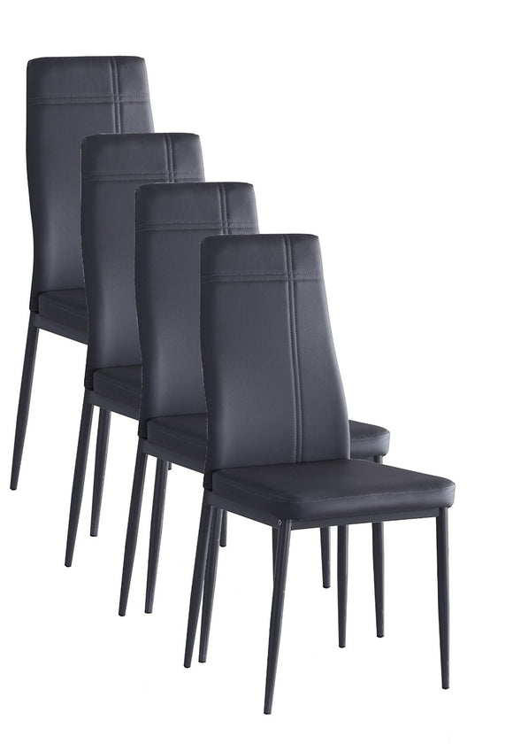 Bri Kitchen Dining Chairs, Gray Faux Leather