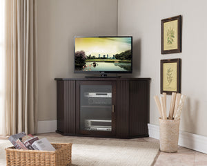 "Cali Walnut Wood Transitional Corner Entertainment Center Media Console TV Stand With Cabinets & 6 Storage Shelves (26.5"", 36"") - Pilaster Designs"