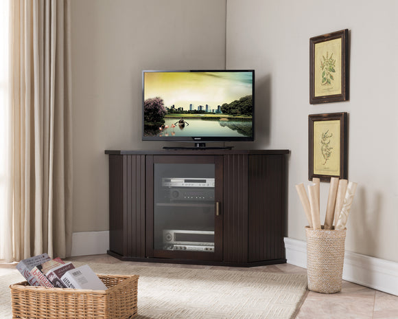 Cali Walnut Wood Transitional Corner Entertainment Center Media Console TV Stand With Cabinets & 6 Storage Shelves (26.5