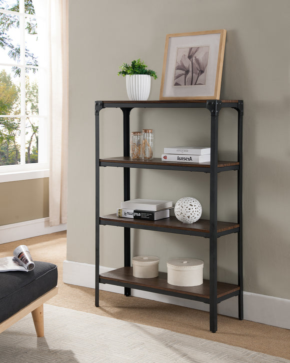 Catalina 4 Tier Bookcase, Walnut Wood & Black Metal