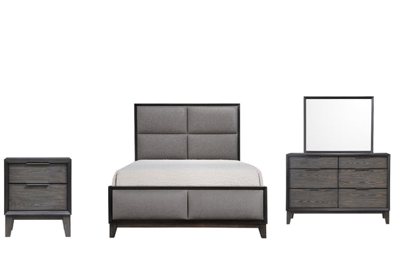 Consuelo 4 Piece Upholstered Bedroom Set, Queen, Gray Wood
