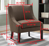 Brown Upholstered Fabric Oversized Accent Living Room Armless Chair With Solid Wood Legs - Pilaster Designs