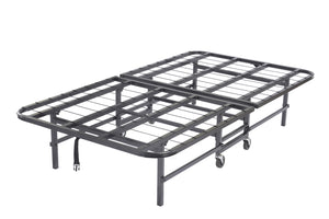 "30"" or 39"" Twin Size Black Metal Heavy Duty Platform Slat Folding Guest Bed Frame With Caster Wheels - Pilaster Designs"