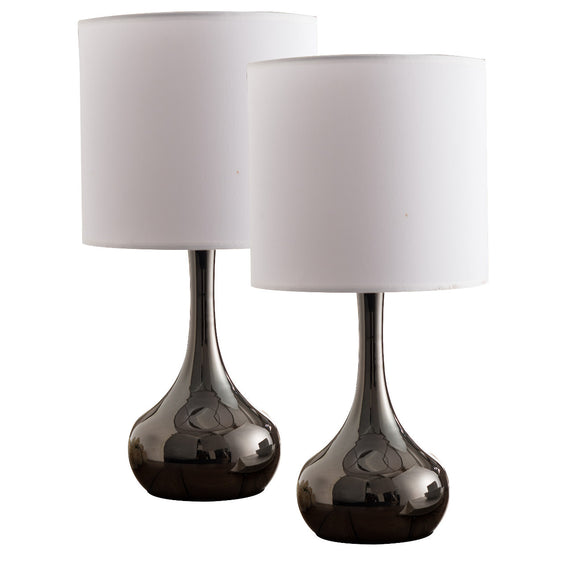 Shayla Table Lamp Set, Gun Metal & White Fabric