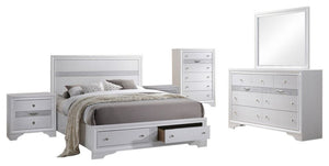 Tokyo 6 Piece Storage Bedroom Set, King, White Wood