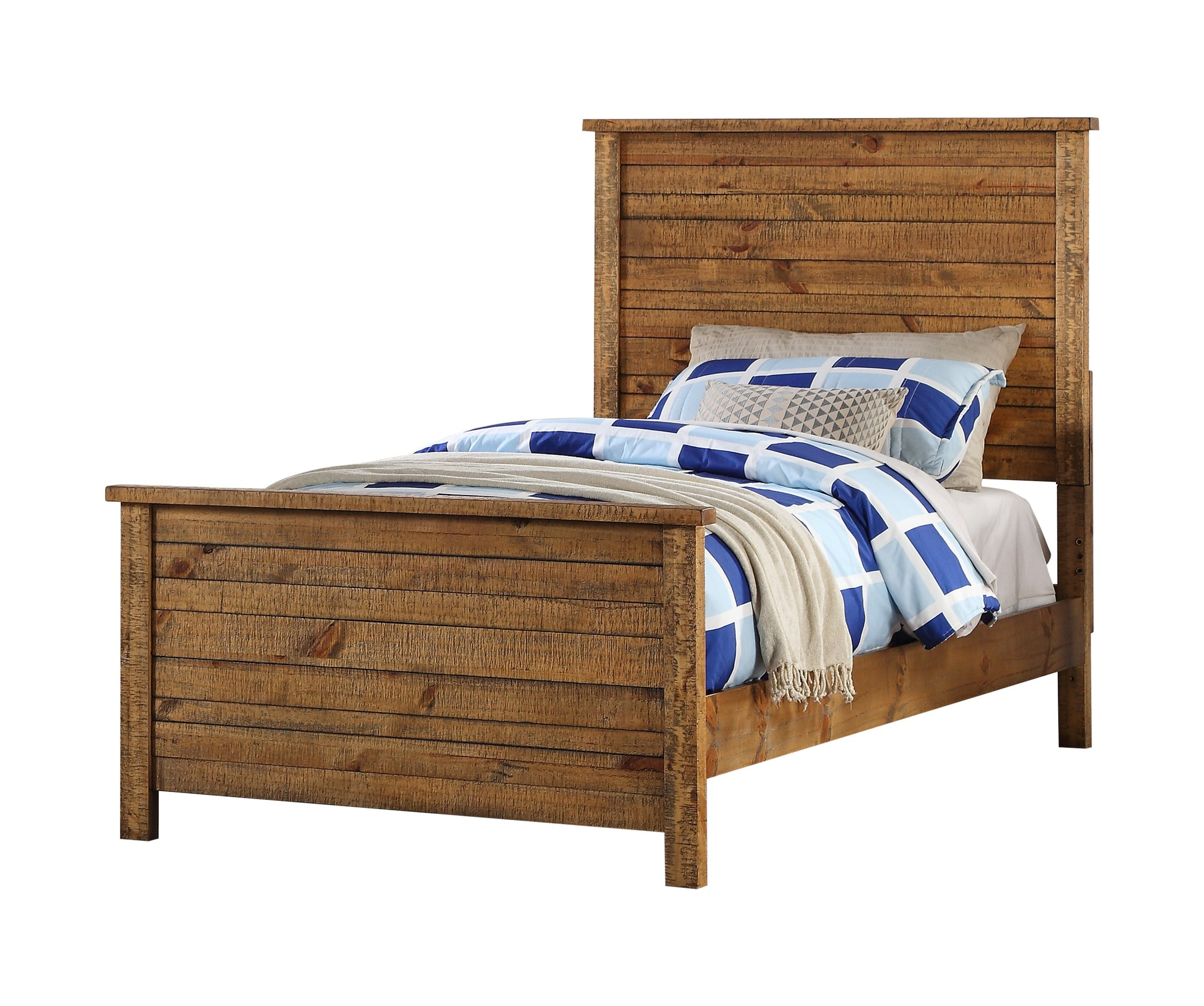 ... Madison Twin Or Full Natural Wood Contemporary Kids Bedroom Set (Panel  Bed, Dresser, ...