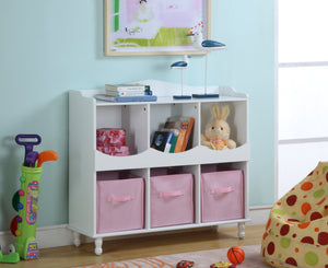 White U0026 Pink Wood Kids Storage Cubby Display Cabinet With Shelves U0026 Fabric  Bins