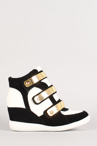 Two-Tone Metallic Plate Strappy Wedge Sneaker