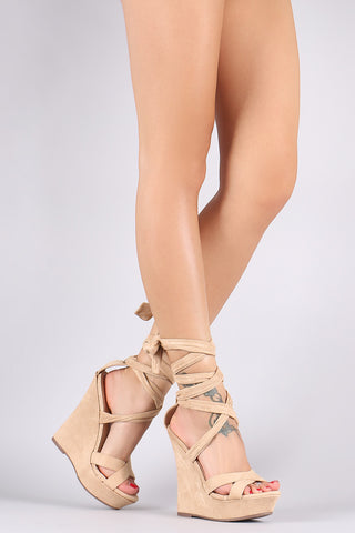 Liliana Suede Crisscross Leg Wrap Platform Wedge