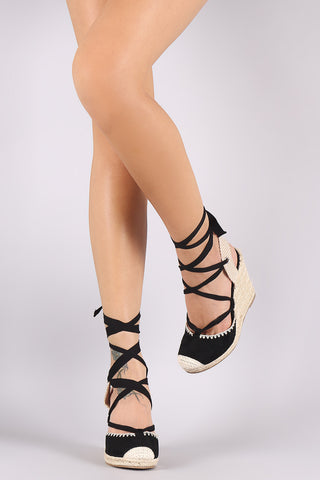 Wild Diva Lounge Suede Lace Up Round Toe Espadrille Wedge