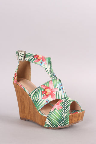 Tropical Print Cutout Peep Toe Platform Wedge