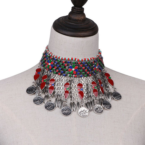 Tribal Ethnic Coin Choker Necklace