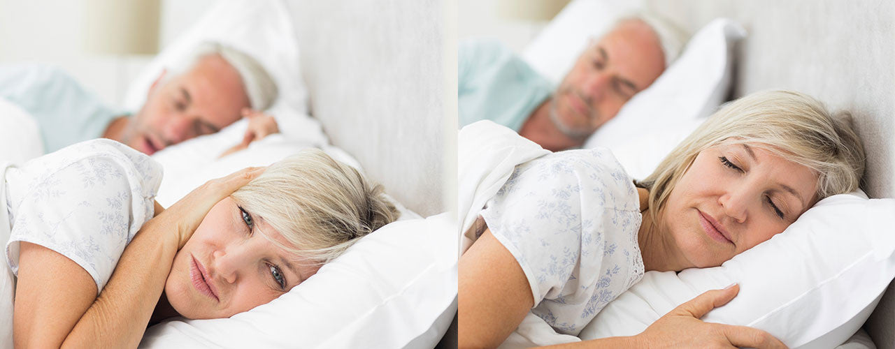 Two images of an older couple sleeping on a bed