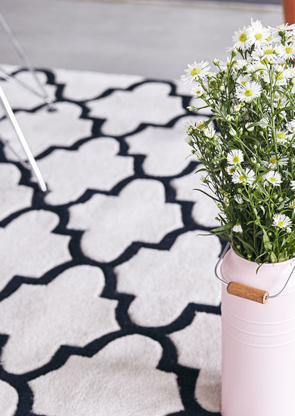 black and white rug with plant