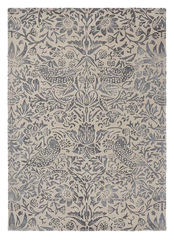 William Morris - Stunning Pure Strawberry Thief Rug in Ink