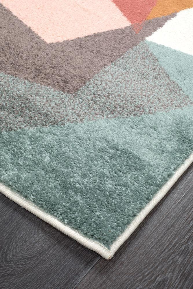 Dimensions Divinity Fragments Teal Modern Runner Rug