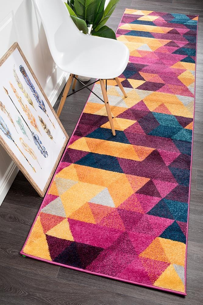 Dimensions Divinity Triangle Multi Modern Runner Rug