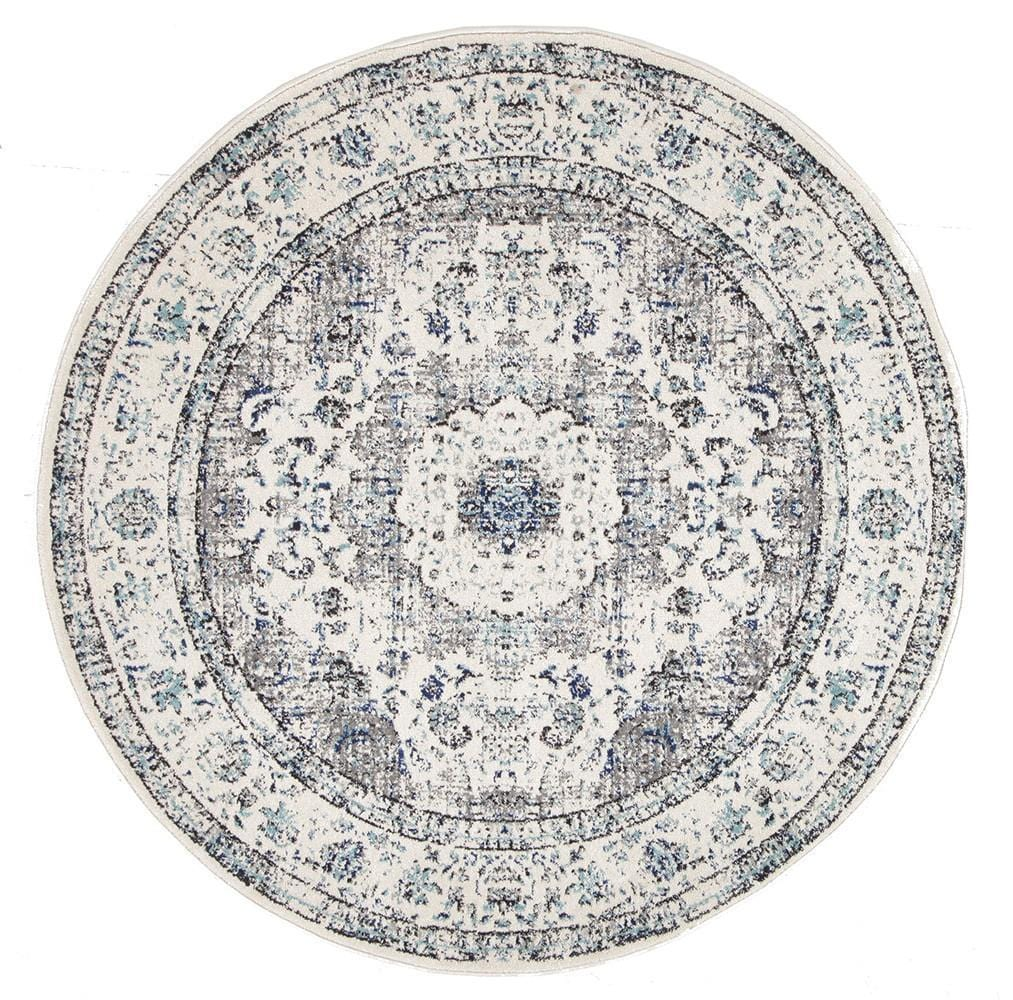 Evoke Mist White Transitional Round Rug