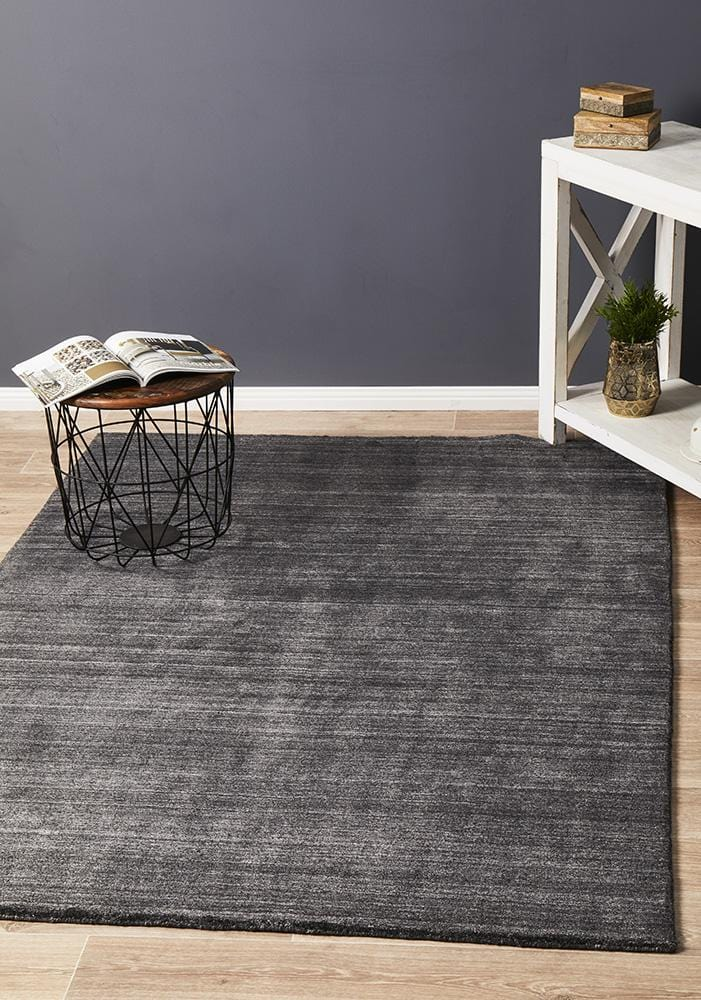 Havana Wool & Silky Viscose Charcoal Rug - Cheapest Rugs Online