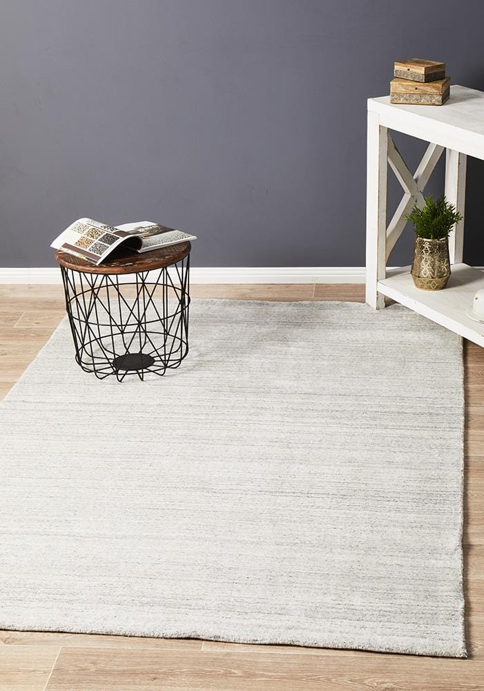 Havana Wool & Silky Viscose Light Grey Rug - Cheapest Rugs Online