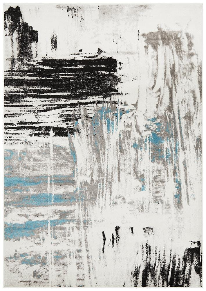Lydia Abstract Rug Blue White Black Grey - Cheapest Rugs Online