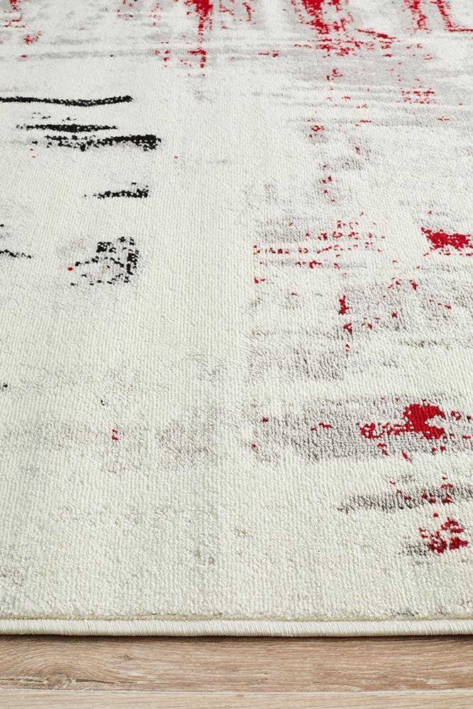 Lydia Abstract Rug Red Black White Grey - Cheapest Rugs Online