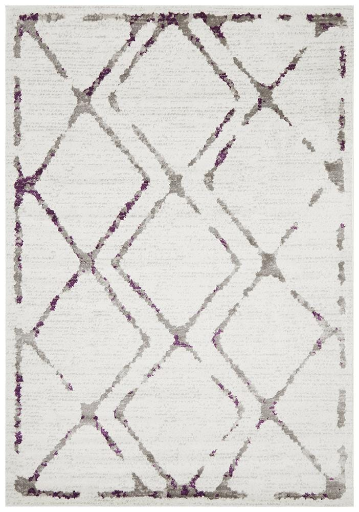 Kendall Contemporary Diamond Rug White Purple Grey - Cheapest Rugs Online