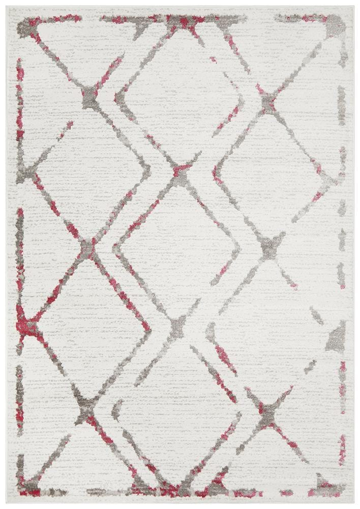 Kendall Contemporary Diamond Rug White Pink Grey - Cheapest Rugs Online