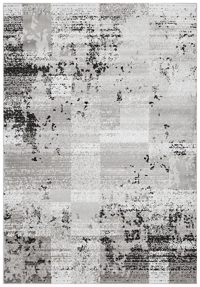 Alicia Modern Distressed Rug Grey Black Silver - Cheapest Rugs Online