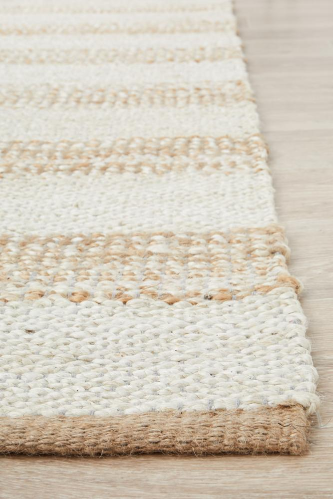 Jute Noosa Stripes in White and Natural
