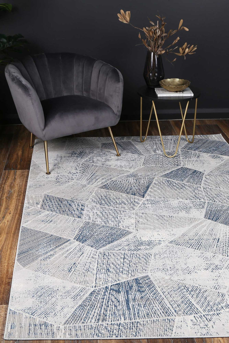 Elmas Geometric in Grey & Blue