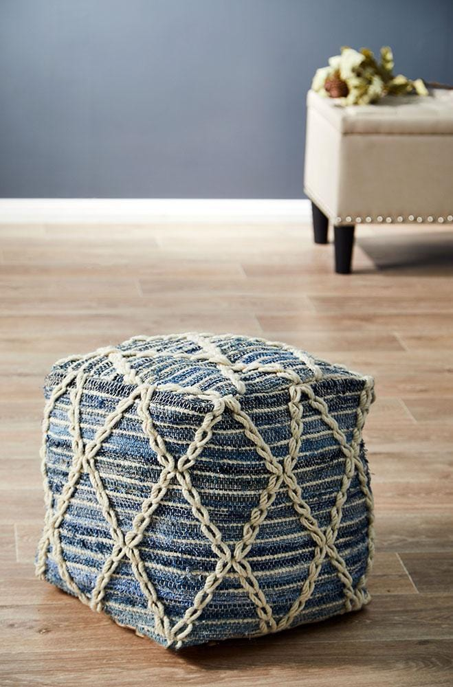 Rug Culture Home 518 Denim Ottoman