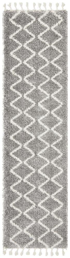 Rocca Runner Rug No.22 in Silver