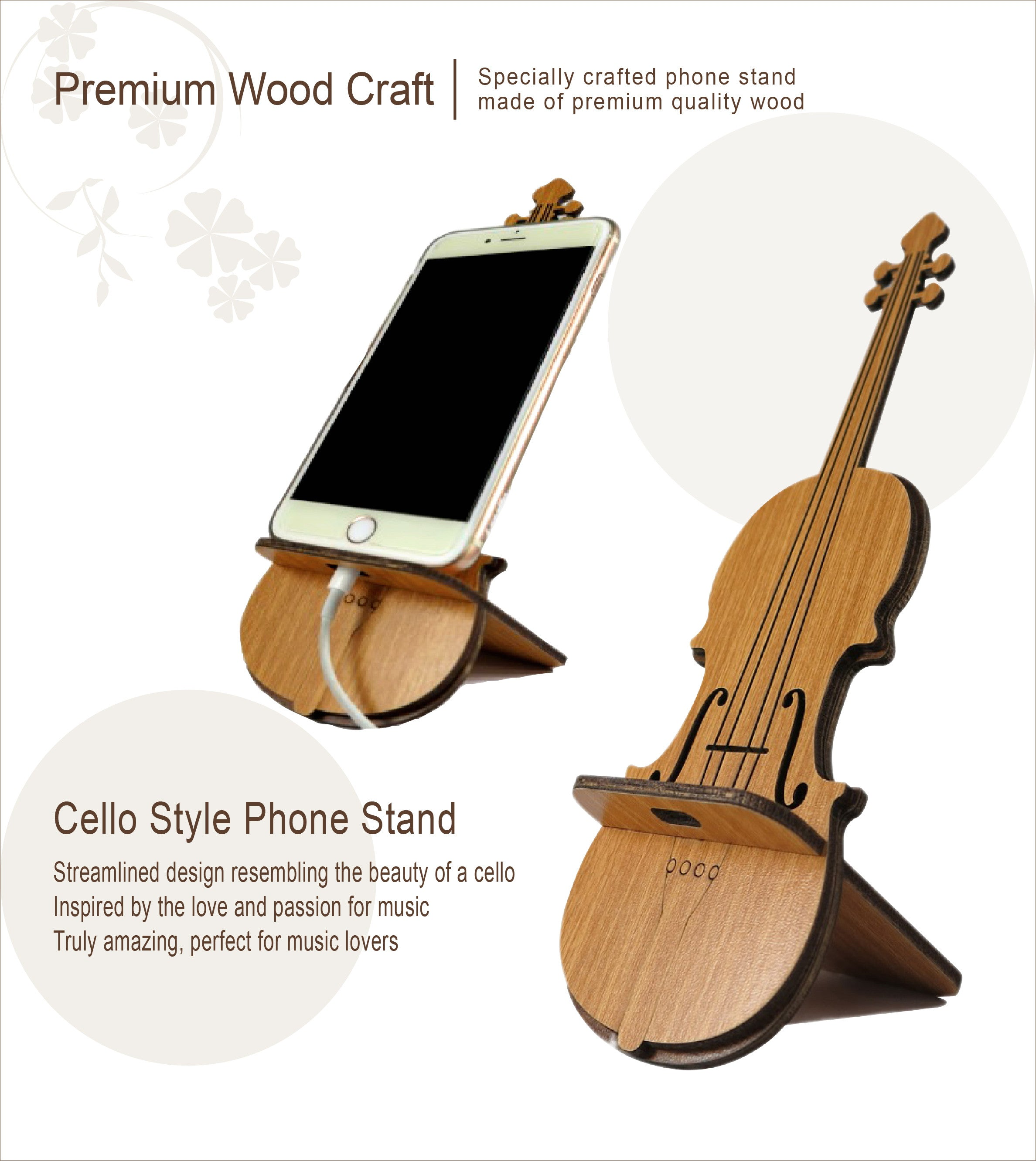 Cello Handcrafted Wooden Phone Stand Music Creators Online