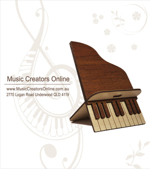 Piano Handcrafted Wooden Phone Stand (Dark) - Music Creators Online