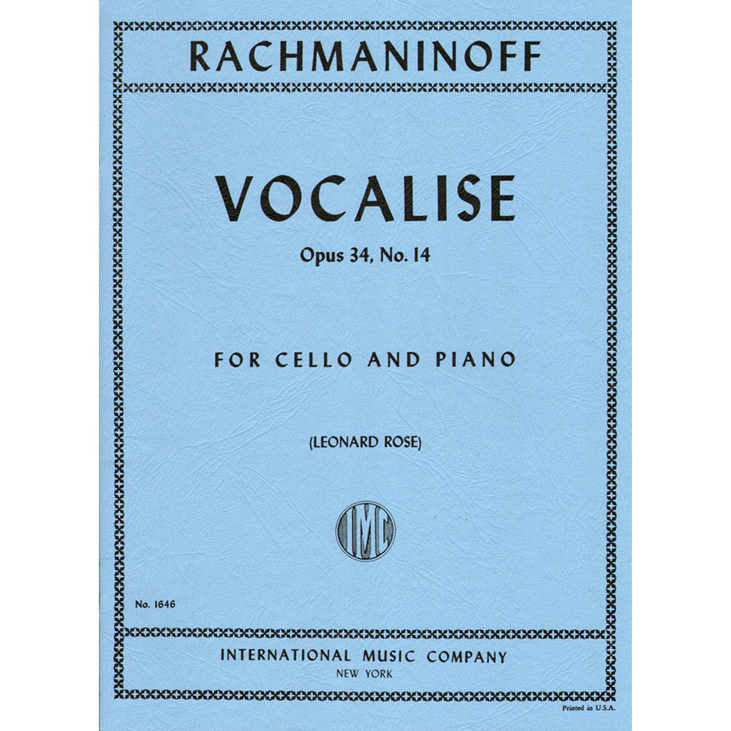 Rachmaninoff- Vocalise op.34  no.14, for cello and piano - Music Creators Online