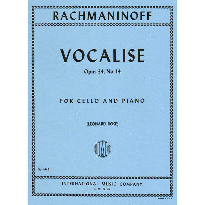 Rachmaninoff- Vocalise op.34  no.14, for cello and piano
