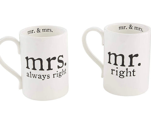 Mr Right/ Mrs Always Right Mug Set