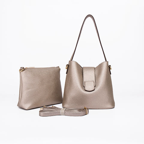 Two in One Bucket Bag- Silver