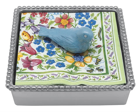 Blue Bird Beaded Napkin Box
