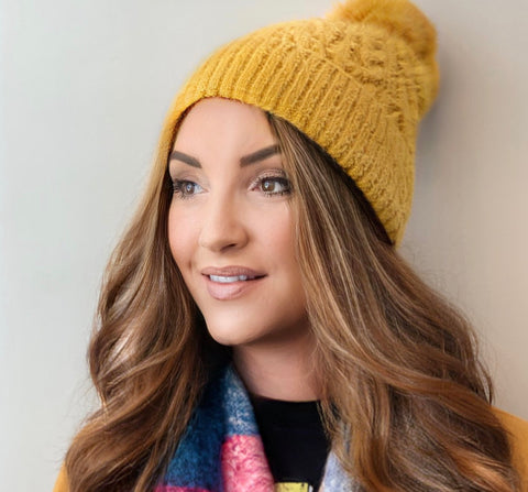 Cable Knit Pom Pom Hat-6 Colors!