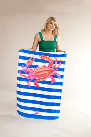 Crab Print Beach Towel